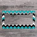 Black white and grey turquoise chevron license plate frame
